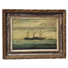 19th Century Steamer Ship Oil Painting c.1870s