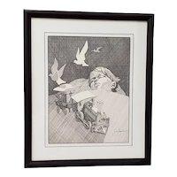 "Andres Desjardins ""Dream Time"" Original Pen and Ink Drawing c.1976"
