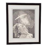 "Andres Desjardins ""Childlike Wonder"" Original Pen and Ink Drawing c.1976"