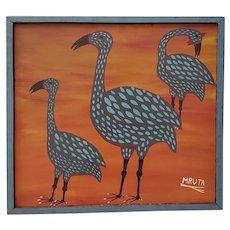 """Mruta Hashim Bushiri (Tanzanian, 1937-1998) """"Three Birds"""" Original Painting c.1970s"""