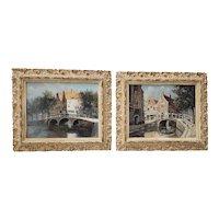 """Jacobus Lambertus Dispo Sr  (1890 - 1964) """"Scenes of Amsterdam"""" Original Oil Paintings c.1930s"""