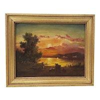 19th Century Luminous Sunset Over Mountain Lake Oil Painting