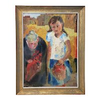 Vintage Expressionist Oil Painting of a Young Girl with an Older Woman c. 1970s
