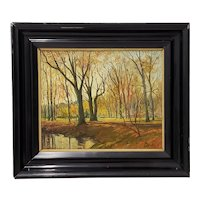 Late 19th Century Lumious Park Forest Landscape Oil Painting by HM Savry