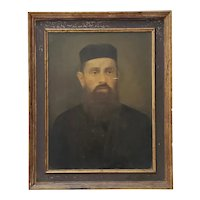 Oil Portrait of a Bearded Man with a Black Cap and Overcoat c.1920
