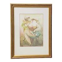 "Norha Beltran (Bolivia, 20th c.) ""Two Women"" Original Watercolor c.1980s"