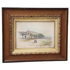San Gabriel Mission Original Watercolor 19th Century