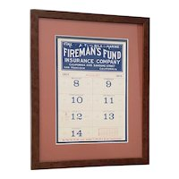 "Antique ""Fireman's Fund"" San Francisco Calendar Page c.1910"