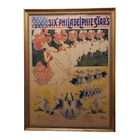 """Late 19th Century """"Six Philadelphie Star's"""" Large Scale Color Lithograph French Poster"""