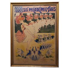 "Late 19th Century ""Six Philadelphie Star's"" Large Scale Color Lithograph French Poster"