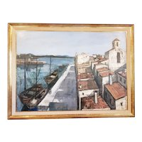 "Charles Levier (1920-2003) Large Scale ""Un Port"" Original Oil Painting c.1950s"