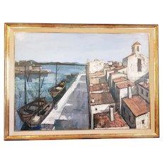 """Charles Levier (1920-2003) Large Scale """"Un Port"""" Original Oil Painting c.1950s"""