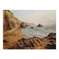 Rocky Coastal Seascape Oil Painting by August Wolf