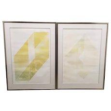 "Vida Hackman (20th c.) ""Box Landscape"" Pair of Etchings w/ Aquatint c.1970s"