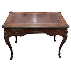 French Louis XV Style Bureau Plat with Embossed Leather Top and Bronze Ormolu Mounts c.1940