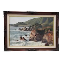 California Coastal Seascape Oil Painting by Weber c.1970s