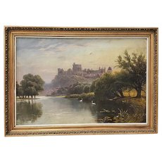 "19th Century ""Windsor Castle"" Original Oil Painting by F. Beale"