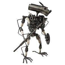 Heavy Gauge Scrap Metal Kinetic Robot Sculpture