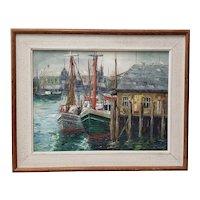"Carl Thorp (1912-1989) ""New England Harbor"" Original Oil Painting c.1966"