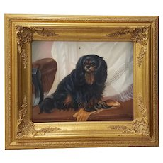 King Charles Spaniel Oil Painting by D. Grant 20th c.