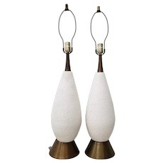 Pair of Mid-Century Modern White Textured Ceramic Table Lamps