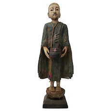 Mid 20th Century Carved and Polychrome Painted Indonesian Monk