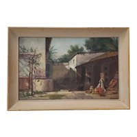 "Vintage ""Pottery Vendors"" Oil Painting c.1940s"