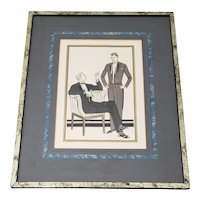 "French School ""L 'Homme Chic"" Mens Fashion Original Pochoir Print c.1930"