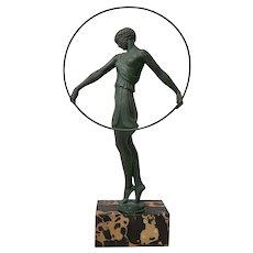 "Pierre Le Faguays  (1892 - 1962) ""Dancer with Hoop"" Art Deco Sculpture c.1930"