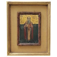 Vintage Russian Orthodox Icon Painting on Wood c.1940s