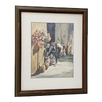 "Vintage Watercolor ""The Shopkeeper"" by Mystery Artist"