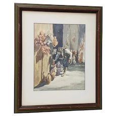 """Vintage Watercolor """"The Shopkeeper"""" by Mystery Artist"""