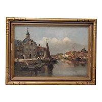 Impressionist Dutch Port Landscape by H. Dykman c.1930s
