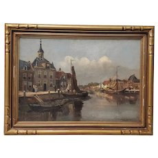 Impressionist Dutch Port Landscape by H. Dykman c.1930s