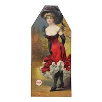 Embossed Pressed Paper Fashionable Woman w/ Elaborate Hat & Coca Cola Decal
