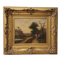 19th Century Landscape with House & Figure Oil Painting