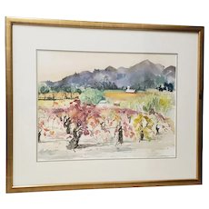 Country Landscape with Farm Houses Original Watercolor by J. Barnett c.1986