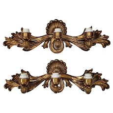 Pair of Cast Bronze & Gilded Wall Sconces