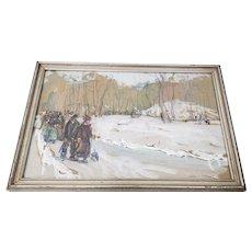 "Jane Peterson (1876-1965) ""Winter Stroll"" Original Watercolor c.1910"