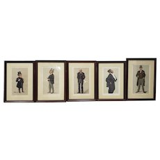 "Set of Five Framed 19th Century Vanity Fair ""Spy"" Prints c.1890s"