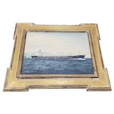 """Oil Portrait of """"M.S. Aleppo"""" Off the Coast of Japan by T Hagiwara c.1960s"""