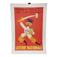 """French National Lottery """"Jackpot Dance"""" Lithograph Poster c.1957"""
