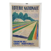 """French Lottery Poster """"Horticulture for National Relief"""" c.1944"""