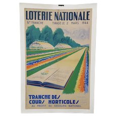 "French Lottery Poster ""Horticulture for National Relief"" c.1944"