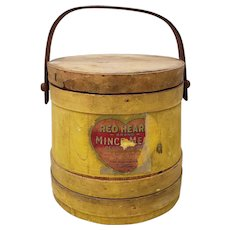Old Firkin Sugar Bucket with Lid and Old Label circa Early 20th Century