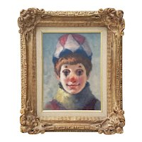 "Philippe Alfieri  (1921 - 2009) ""Young Harlequin"" Original Oil Portrait c.1970s"