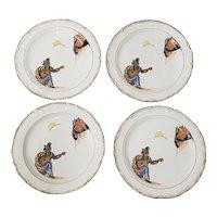 "Set of Four Vernon Kilns ""Romeo & Juliette"" Dessert Plates c.1930s"