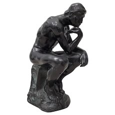 "Early 20th Century Patinated Metal ""Thinker"" Sculpture"