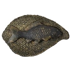Vintage Brass Fish in a Net Ashtray