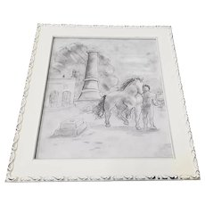 "Original Graphite Drawing ""Homage to Picasso"" by Mystery Artist"